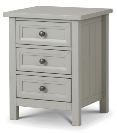 Maine Dove Grey 3 Drawer Bedside Chest by Julian Bowen Sale Now on at Your Price Furniture